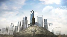 打破混凝土墙 站立在峭壁前面的女实业家 修造大厦 库存例证