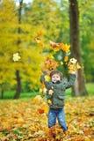 扔叶子的小男孩在秋天公园 免版税库存照片