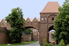 托伦老城市墙壁在波兰 图库摄影