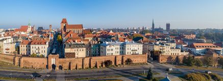 托伦耶路撒冷旧城,波兰全景  库存照片