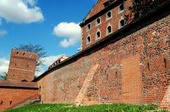 托伦,波兰:中世纪防御墙壁 免版税库存图片
