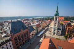 托伦,波兰9月11,2016 :从塔看的托伦全景  免版税图库摄影