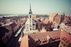 托伦,波兰9月11,2016 :从塔看的托伦全景  图库摄影