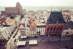 托伦,波兰9月11,2016 :从塔看的托伦全景  库存图片