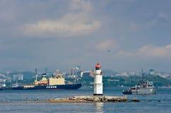 托卡列夫灯塔 符拉迪沃斯托克 俄国 02 09 2015年 免版税图库摄影