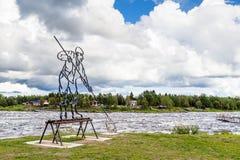托尔尼奥,瑞典2016年8月02日:白鲑渔夫 库存图片