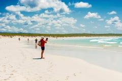 托尔蒂岛在圣克鲁斯岛的海湾海滩在加拉帕戈斯 库存图片