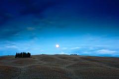 托斯卡纳夜风景,与树在fiedl,与星,夜波浪小山的深蓝天空的月亮环境美化,意大利 图库摄影