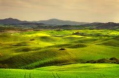 托斯卡纳春天,日落的绵延山 沃尔泰拉农村大局 图库摄影