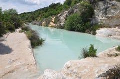 托斯卡纳,在Bagno Vignoni的温泉 库存照片