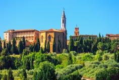 托斯卡纳,皮恩扎中世纪村庄,教会细节 锡耶纳, Val d或 库存图片