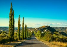 托斯卡纳, Montegiovi村庄 Monte Amiata,格罗塞托,意大利 免版税库存图片