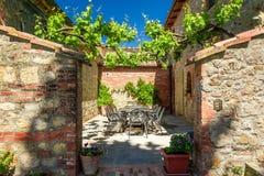 托斯卡纳Agritourism的家庭餐厅 库存照片