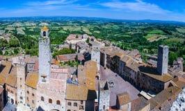 从托斯坎市的鸟瞰图圣Gimignano,托斯卡纳,意大利 图库摄影