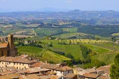 托斯坎风景,圣吉米尼亚诺,意大利 库存图片