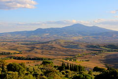 托斯坎风景,沃尔泰拉,意大利 图库摄影