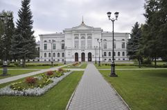 托木斯克,俄罗斯,全国研究托木斯克州立大学在夏日 2017年7月10日 全部郁金香 图库摄影