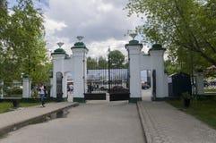 托木斯克,俄罗斯,全国研究托木斯克州立大学在夏日 2017年7月10日 全部郁金香 免版税图库摄影