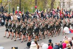 托木斯克,俄罗斯- 2016年5月9日:打开军事游行俄国仪式在胜利天, 5月, 9日, 2016年在托木斯克,俄罗斯 免版税库存照片