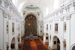 托莱多,西班牙, 2017年5月, 08日 圣伊尔德丰索教会或阴险的人教会Iglesia de圣Idelfonso,托莱多,西班牙内部  免版税库存照片