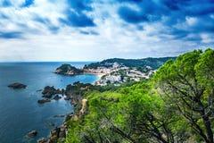 托萨德马尔,肋前缘Brava,卡塔龙尼亚,西班牙都市风景  库存照片
