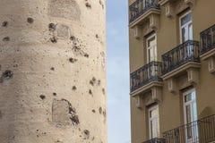 托里斯de quart,老巴伦西亚市,西班牙历史的堡垒  免版税图库摄影