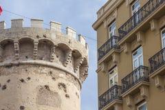 托里斯de quart,老巴伦西亚市,西班牙历史的堡垒  免版税库存照片