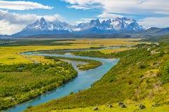 托里斯del潘恩Landscape,巴塔哥尼亚,智利 免版税图库摄影