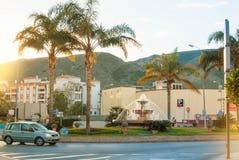 托雷莫利诺斯角,西班牙- 2014年2月13日:有foun的交叉路 免版税库存图片