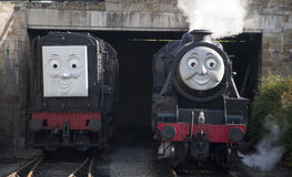托马斯Llangollen的煤水柜机车和朋友蒸铁路 免版税图库摄影