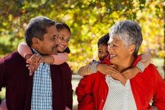 扛在肩上孙的祖父母在公园 库存照片