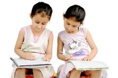 执行他们的家庭作业的孩子。 库存图片