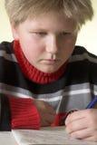 执行他的家庭作业少年的男孩 免版税库存照片