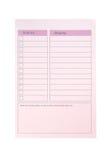 执行列表和购物,桃红色纸张 库存图片