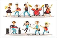 执行在天分展示五颜六色的传染媒介例证的阶段的儿童音乐家与有天才的Schoolkids音乐会 库存例证
