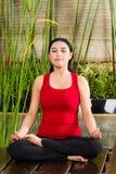 执行在热带设置的亚裔妇女瑜伽 免版税图库摄影