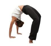 执行在白人妇女瑜伽 免版税库存图片