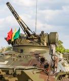 执行在皇家泰国海军,海军基地,春武里市,泰国军事游行的坦克  免版税库存图片