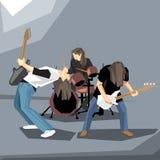 执行在阶段的摇滚乐带 皇族释放例证