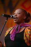 执行在音乐会的歌唱家在南非 免版税库存图片
