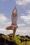 执行夏威夷女子瑜伽年轻人 库存照片
