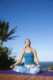 执行女子瑜伽年轻人 免版税图库摄影