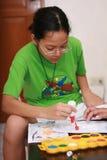 执行女孩的艺术品 免版税库存图片
