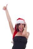 执行女性好的圣诞老人符号 免版税图库摄影