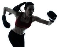 执行妇女的美好的boxe 免版税库存照片