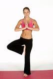 执行姿势女子瑜伽年轻人 免版税库存图片