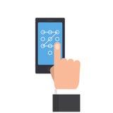 执行接触姿态的商人手打开电话 免版税库存图片