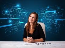 执行文书工作有未来派背景的女实业家 库存图片