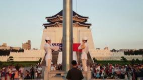 执行每日台湾旗子的仪仗队降低仪式 股票录像