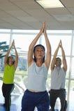 执行瑜伽的人们 免版税图库摄影